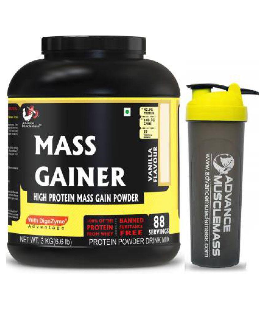 Advance MuscleMass Mass Gainer Vanilla Enzyme Blend With shaker 3 kg Mass Gainer Powder