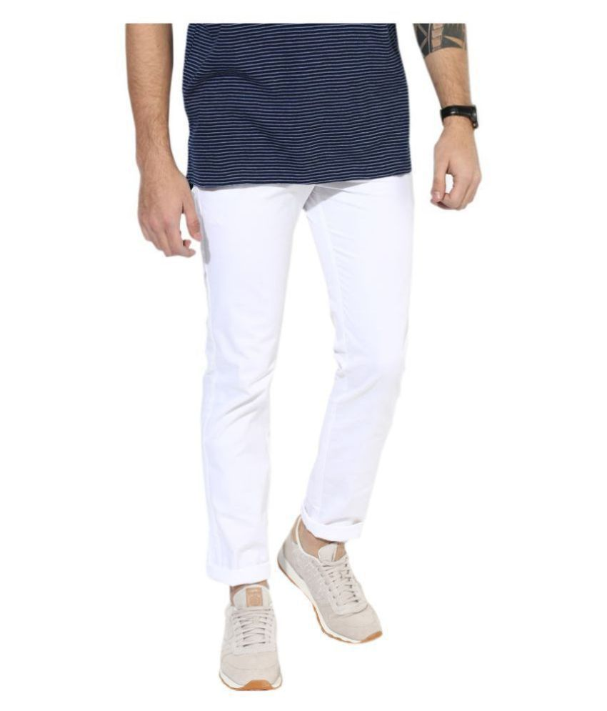 HALOGEN White Skinny -Fit Flat Trousers