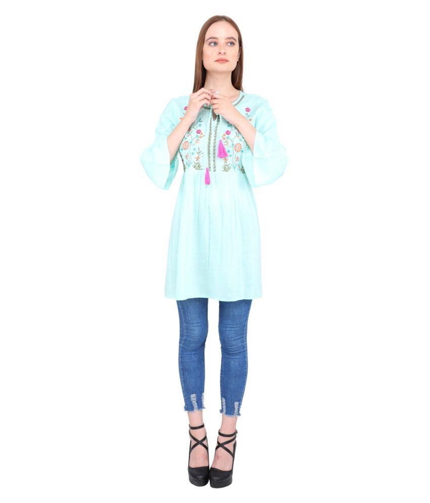 Aanetos Rayon Blue Shift Dress