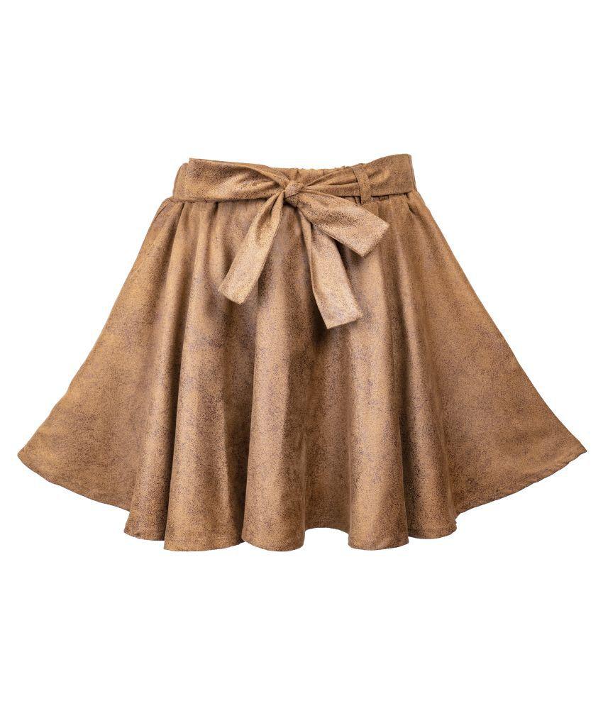 Hunny Bunny Girls Brown Self Design Flared Skirt