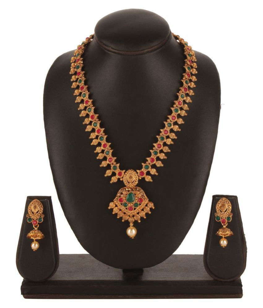Kord Store Alloy Golden Long Haram Traditional Gold Plated Necklaces Set