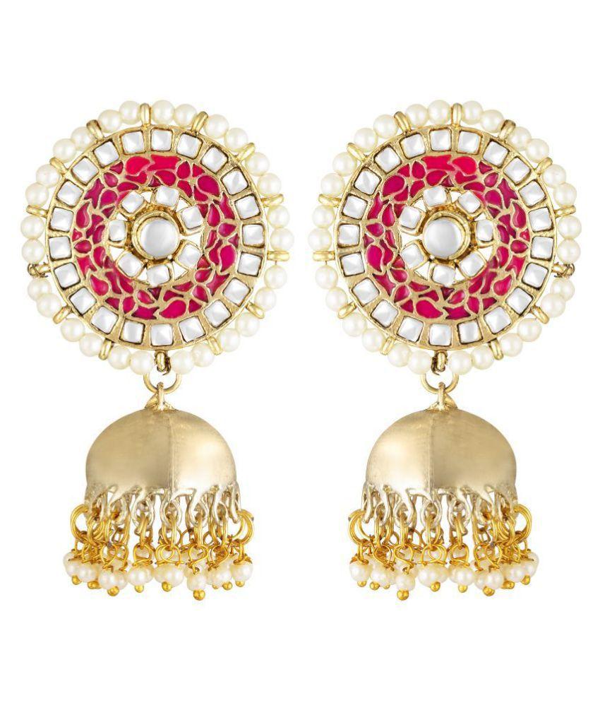 Kord Store Designer Round Shape Meenakari Work Gold Plated Jhumki Earring For Women