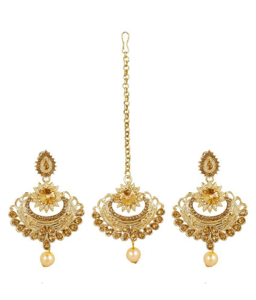 Kord Store Fabulous Flower Lct Stone Gold Plated Chand Bali Earring with Mangtikka for Women