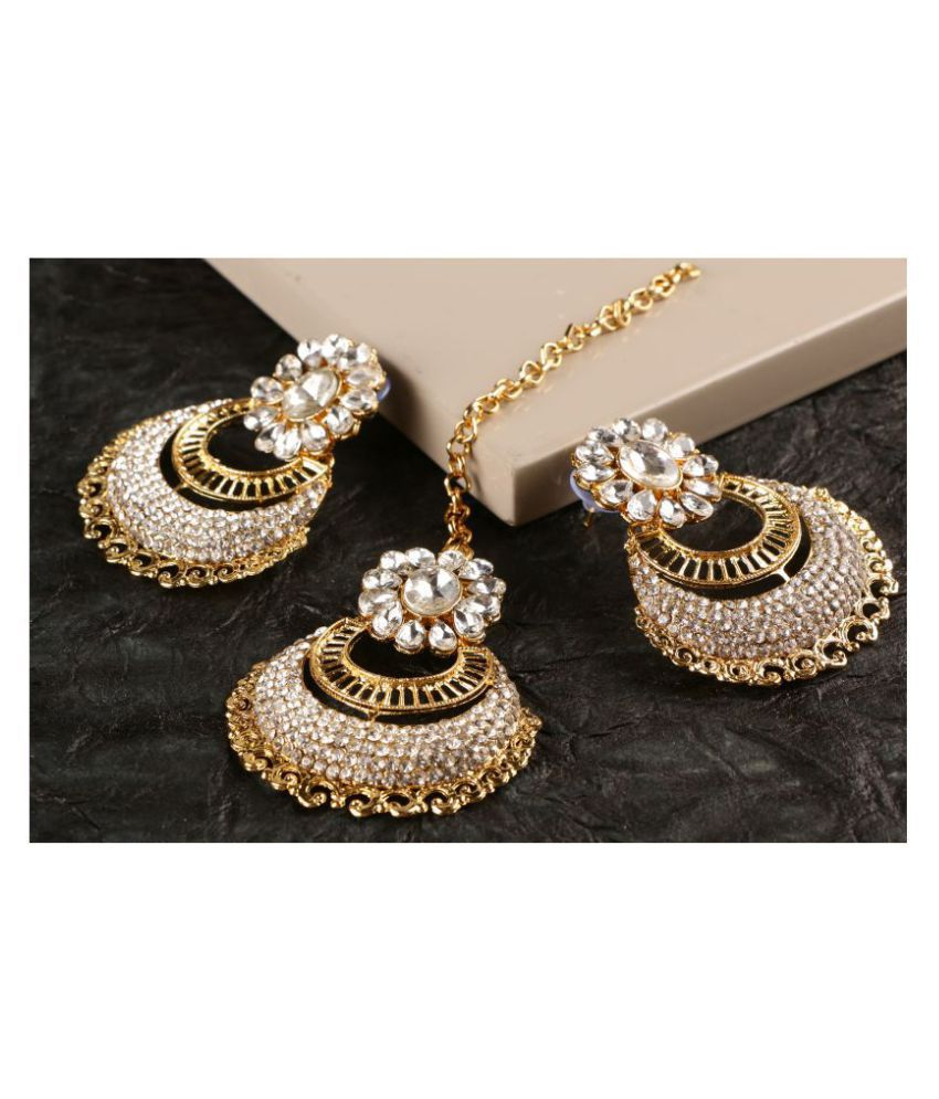 Kord Store Indian Ethnic Gold Plated White Stone Maang Tika & Earring Set For Girls & Women