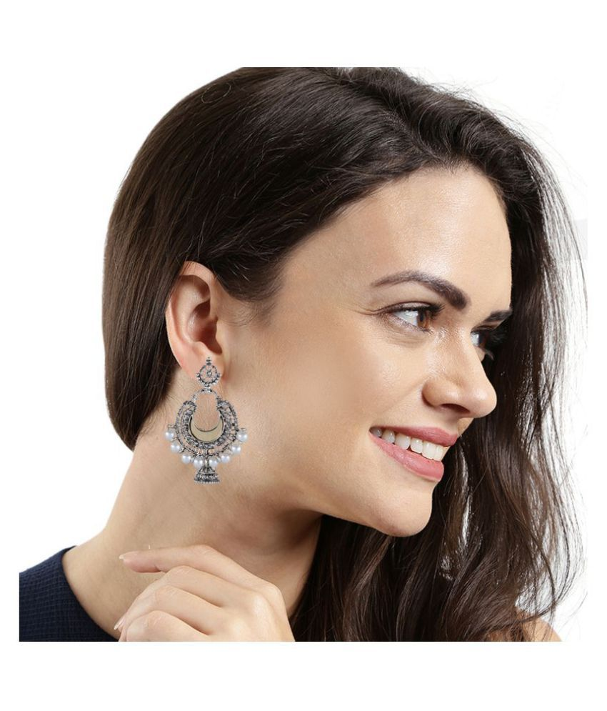 Kord Store Wonderful Chand Shape Pearls Silver Plated Jhumki Earring For Women