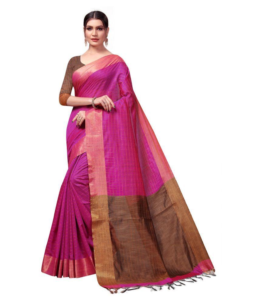 POOJARAN SAREE Pink Cotton Silk Saree
