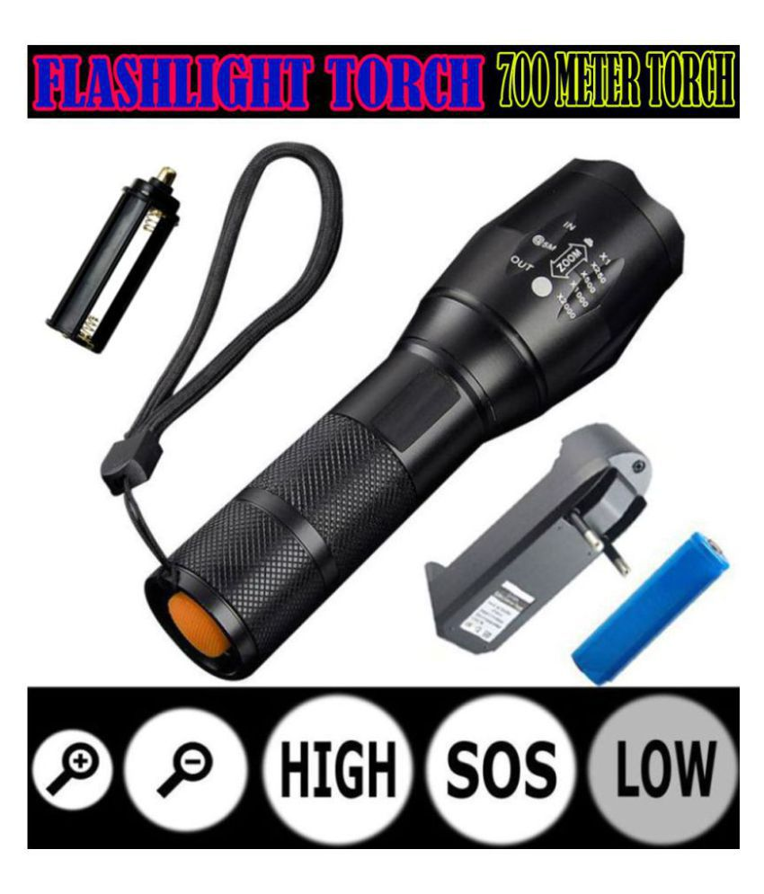TM 700 Meter Rechargeable 5 Mode LED Waterproof Long Beam Metal Torchlight 25W Flashlight Torch Zoomable Light - Pack of 1