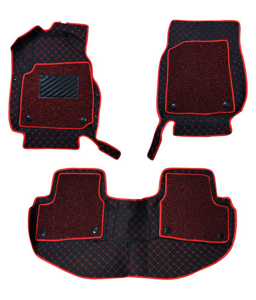 WIINE Leatherite 7D Car Mats For Mahindra Scorpio S6+ (2017) (Red)
