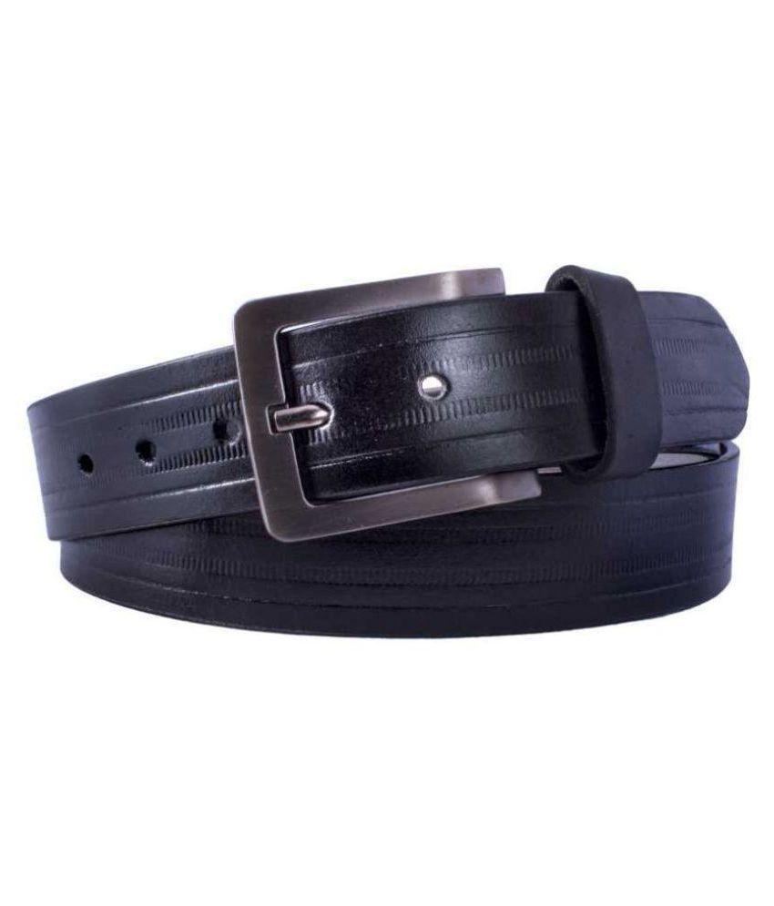 U+N Black Leather Formal Belt
