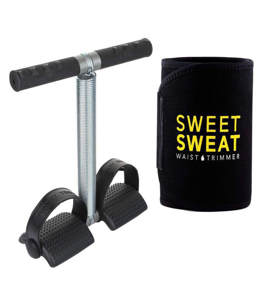 Ab Exerciser Single Spring Tummy Trimmer& Sweat Slim Belt Combo For Men Women