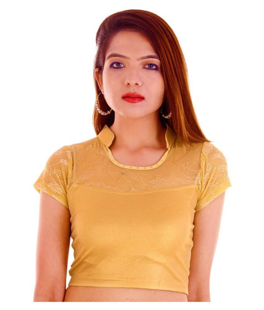 Bulbul Gold Lycra Readymade without Pad Blouse