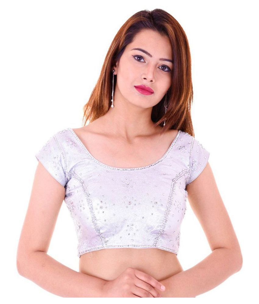 Bulbul Silver Shimmer Readymade with Pad Blouse