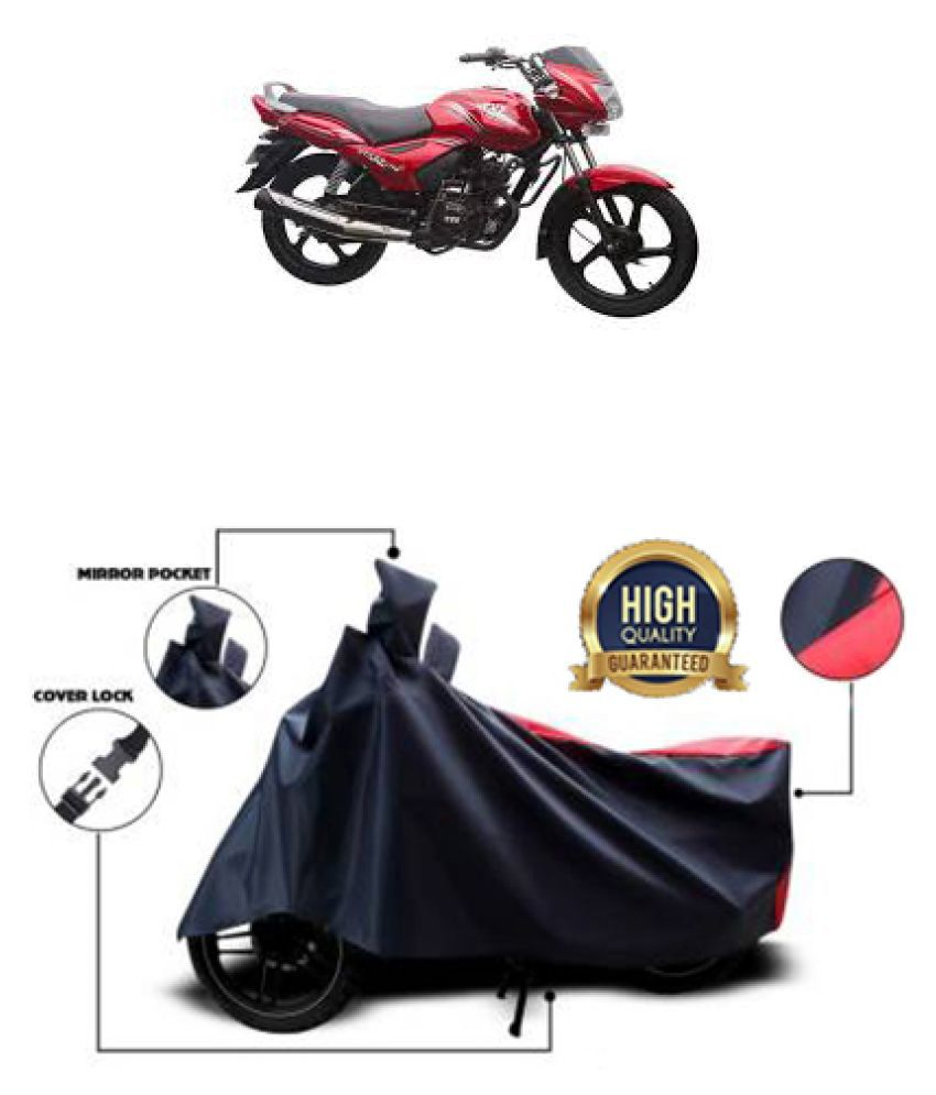 Motohunk two wheeler cover for TVS Star City (Red, Black)