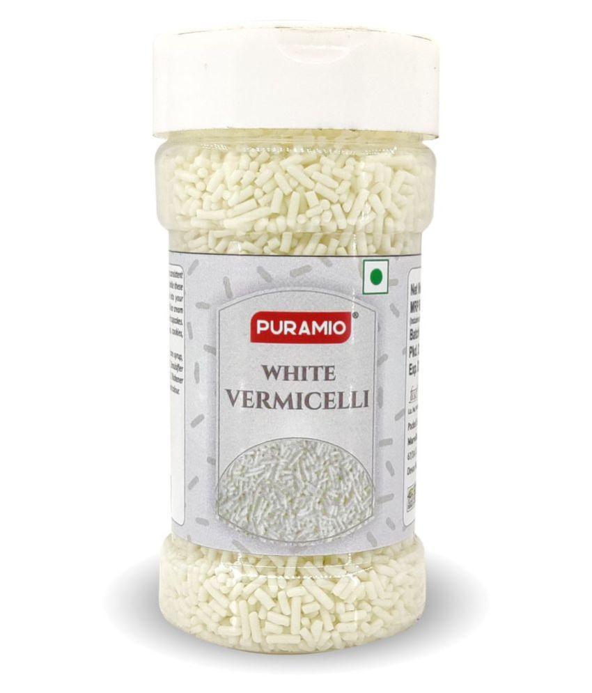 PURAMIO White Vermicelli Sprinkles For Cake Decoration 125 g