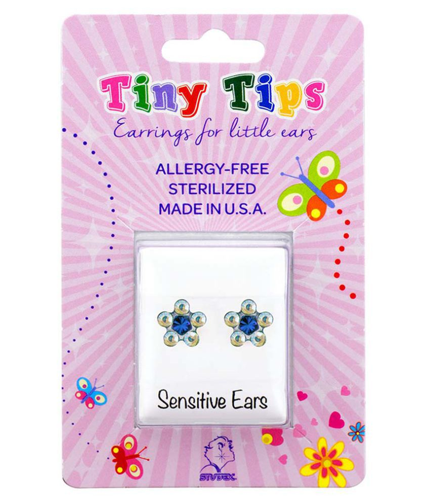 Studex Tiny Tips Stainless Steel Daisy Ab Crystal-March Aquamarine Ear Studs For Kids