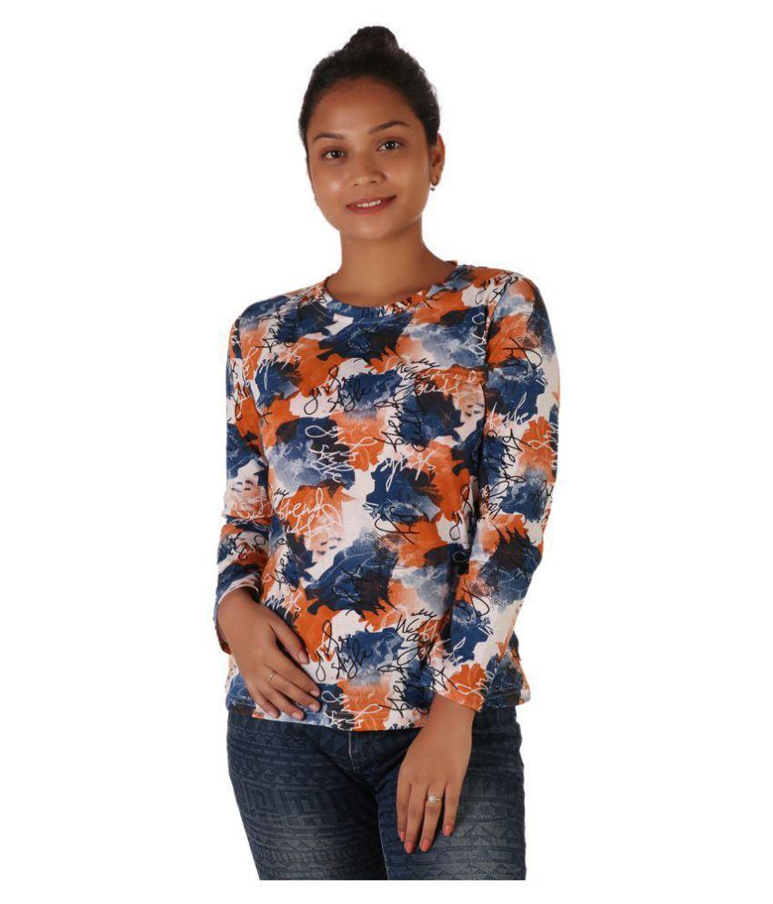Leean Patterns Cotton Orange T-Shirts