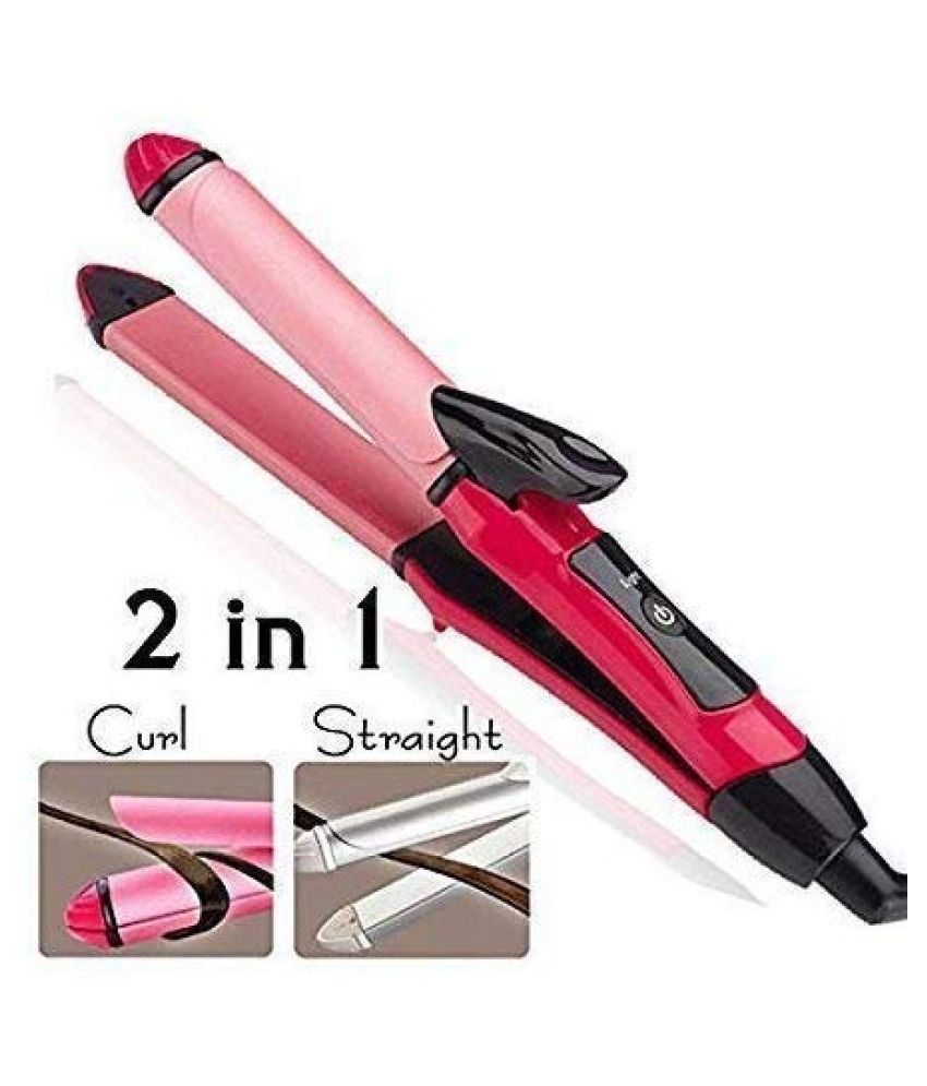 SAKSHI ENTERPRISE 2 in 1 Hair Straightener and Plus Curler with Ceramic Plate  Pink