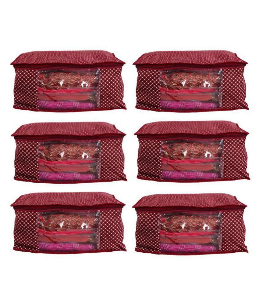 Bulbul Red Saree Covers - 6 Pcs