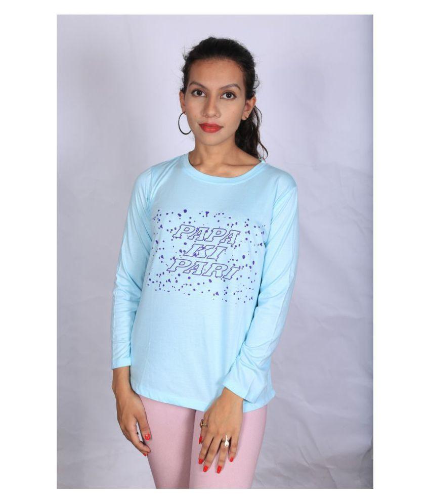 Leean Patterns Cotton Blue T-Shirts