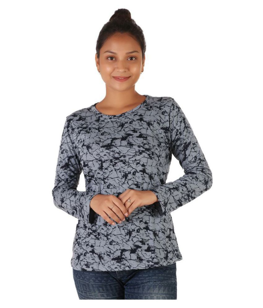 Leean Patterns Cotton Grey T-Shirts