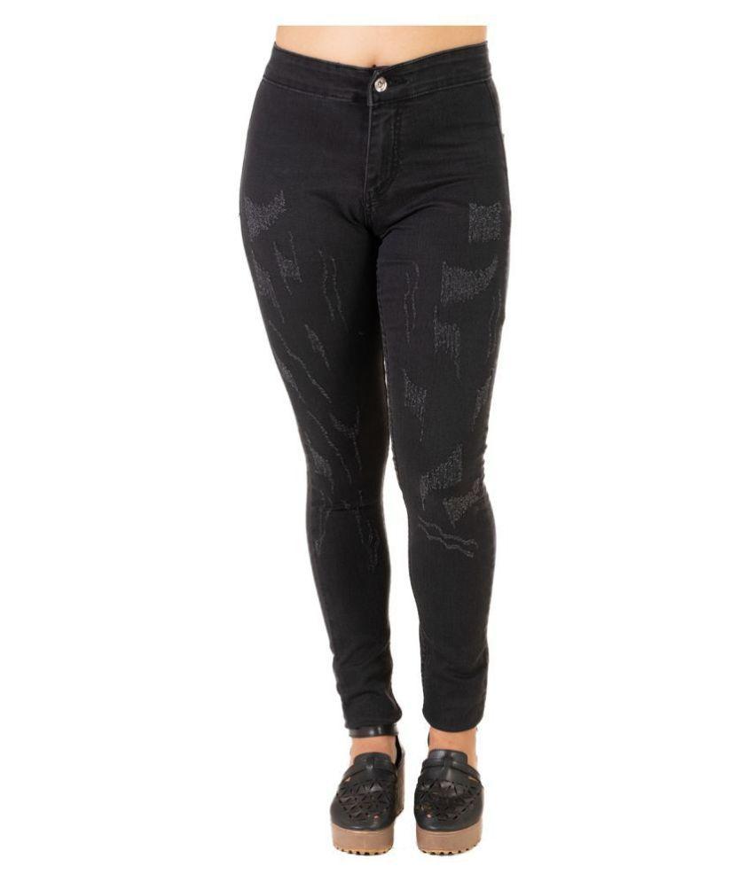 Leean Patterns Denim Jeans - Black