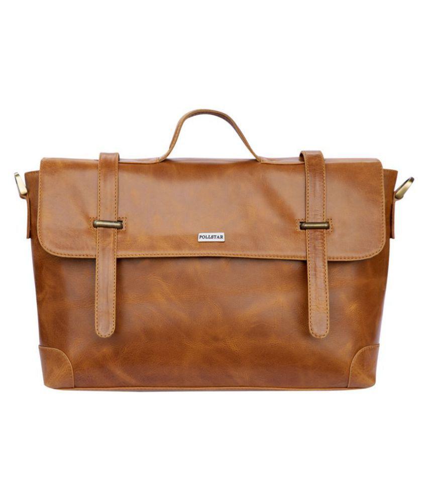 POLLSTAR MB9996TN Tan Leather Office Messenger Bag
