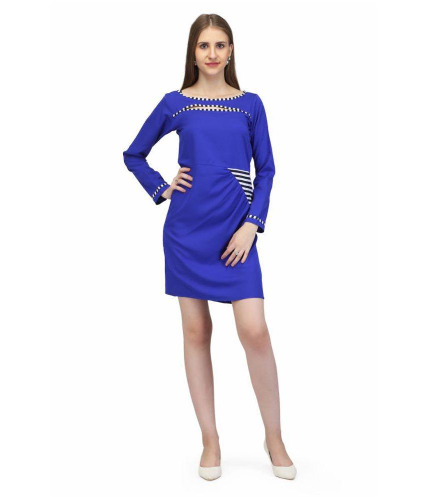 Karmic Vision Crepe Blue Regular Dress
