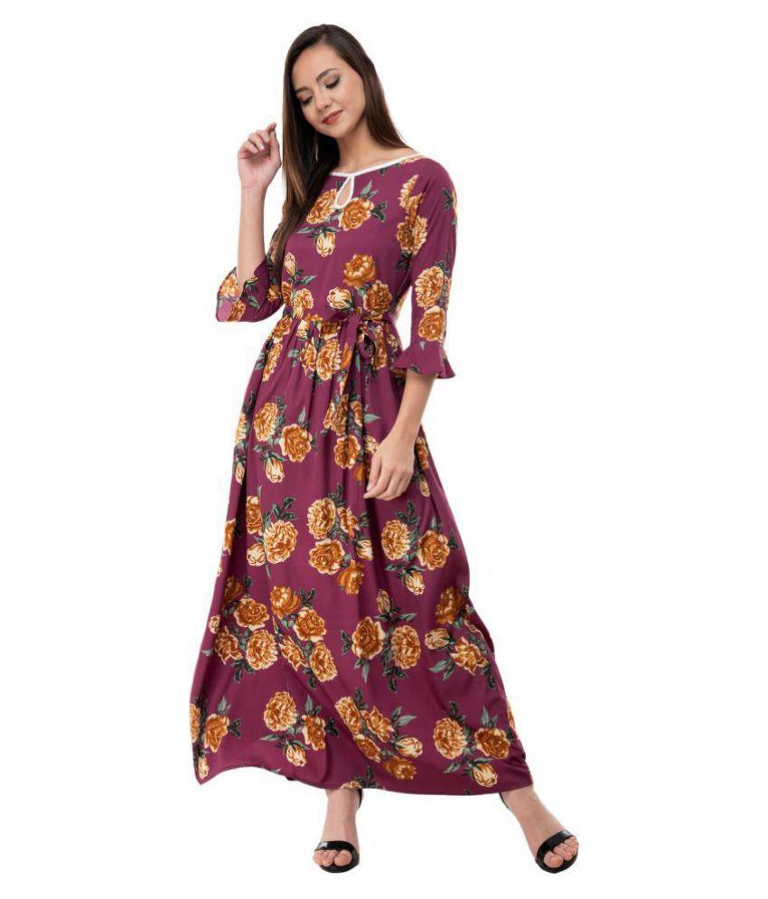 Karmic Vision Crepe Brown A- line Dress