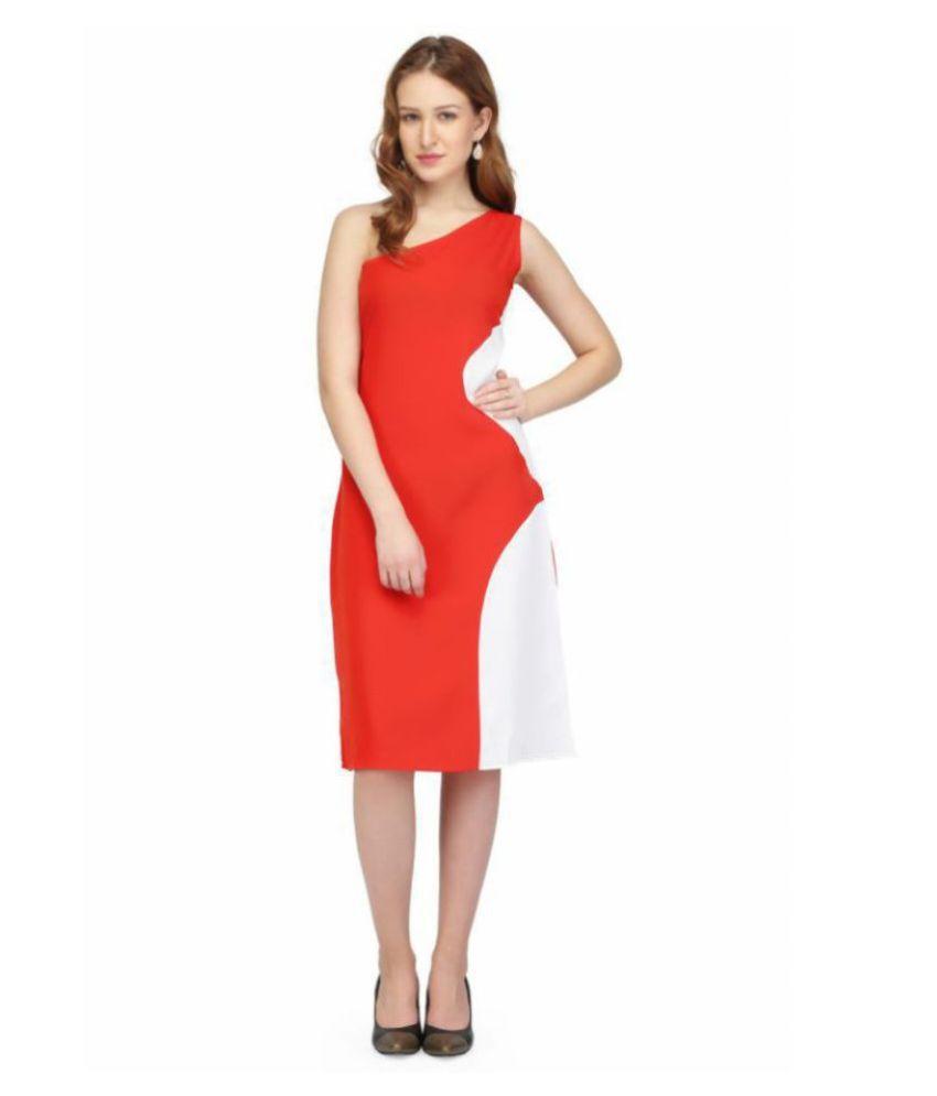 Karmic Vision Crepe Red Regular Dress