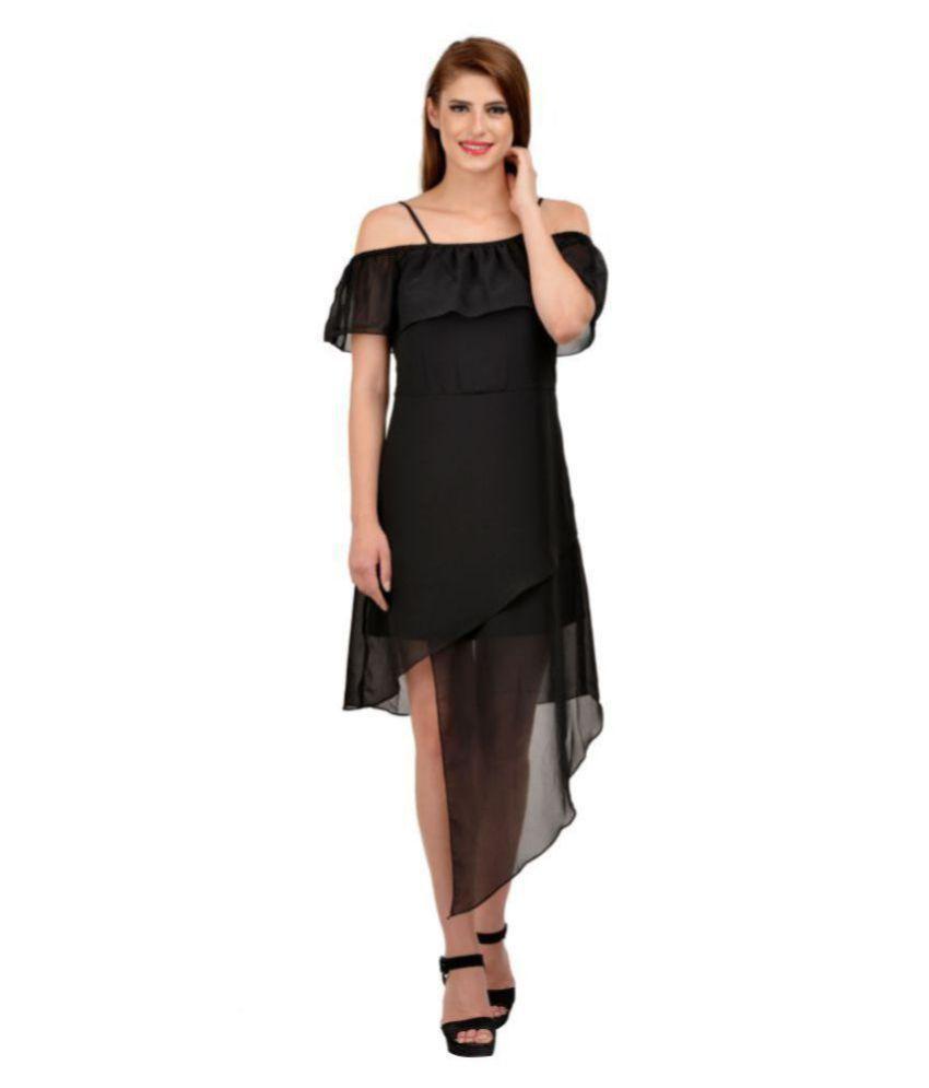 Karmic Vision Georgette Black A- line Dress