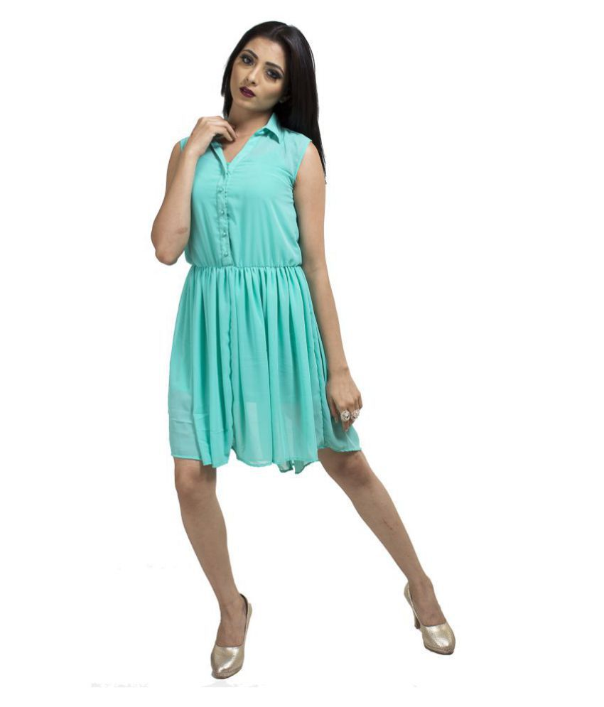 Karmic Vision Georgette Turquoise Fit And Flare Dress