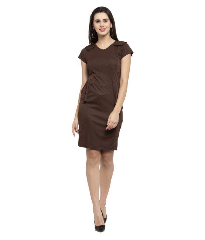 Karmic Vision Poly Viscose Brown Regular Dress