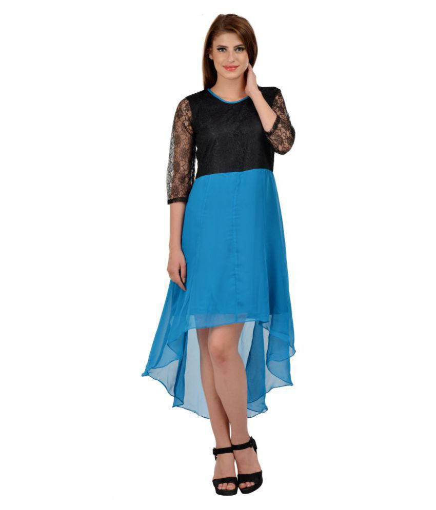 Karmic Vision Faux Leather Blue Asymmetric dress
