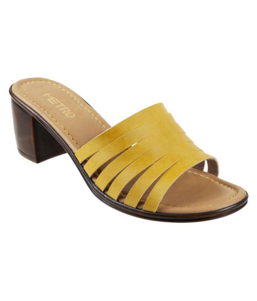 Metro Yellow Block Heels