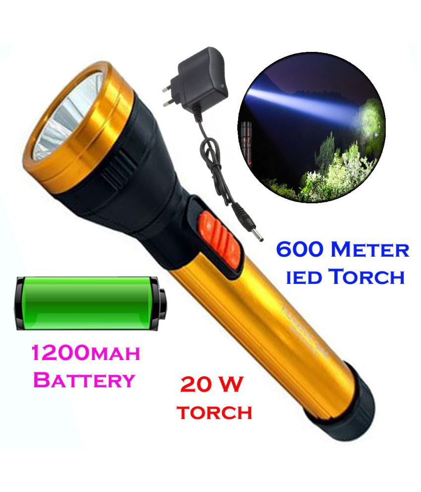 New Rechargeable 600mtr LED Waterproof Long Beam Metal Torch 20W Flashlight Torch Long Range 2 Mode - Pack of 1