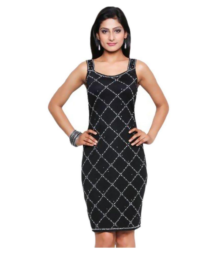 Five-Stones Cotton Black Bodycon Dress