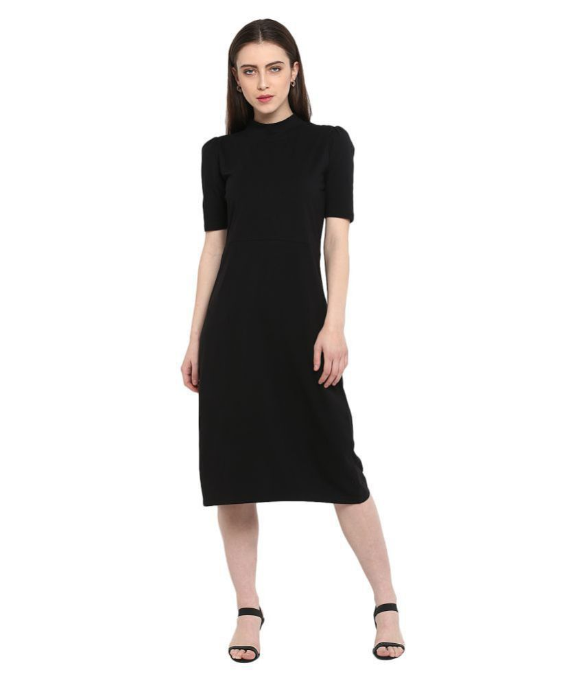Color Cocktail Cotton Lycra Black A- line Dress