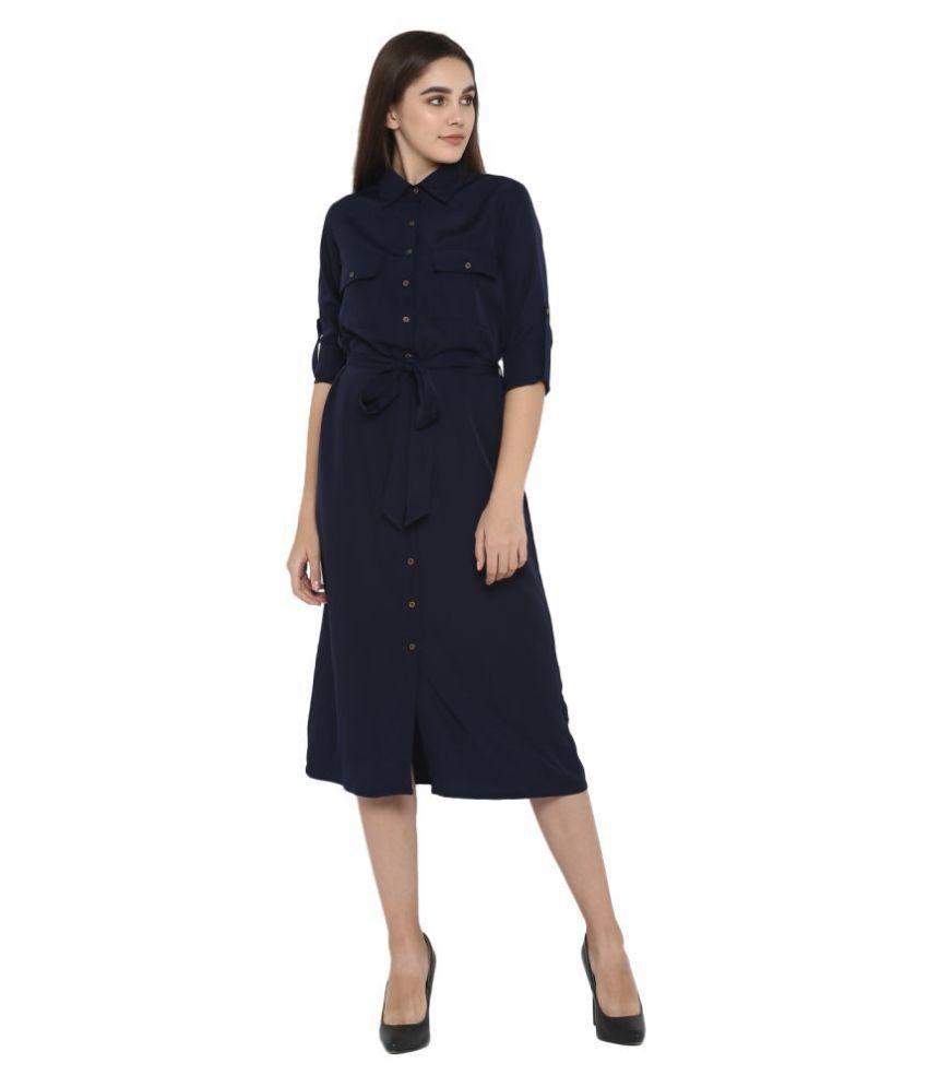 Color Cocktail Crepe Navy Shirt Dress