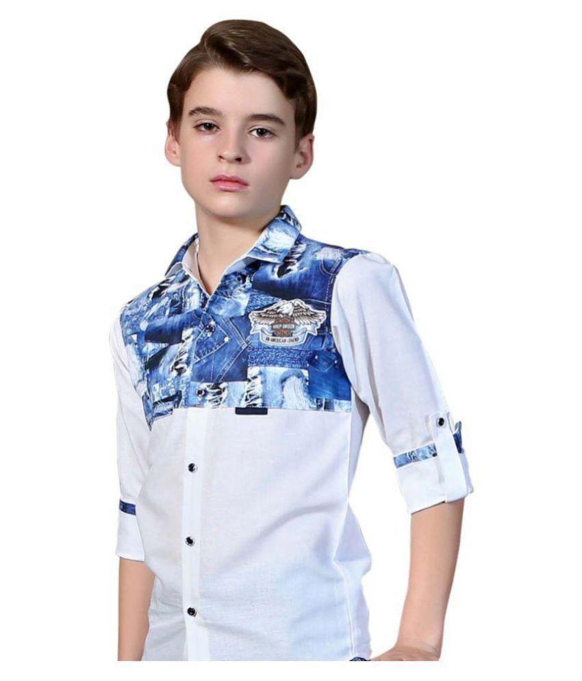 MashUp Printed white Linen Shirt