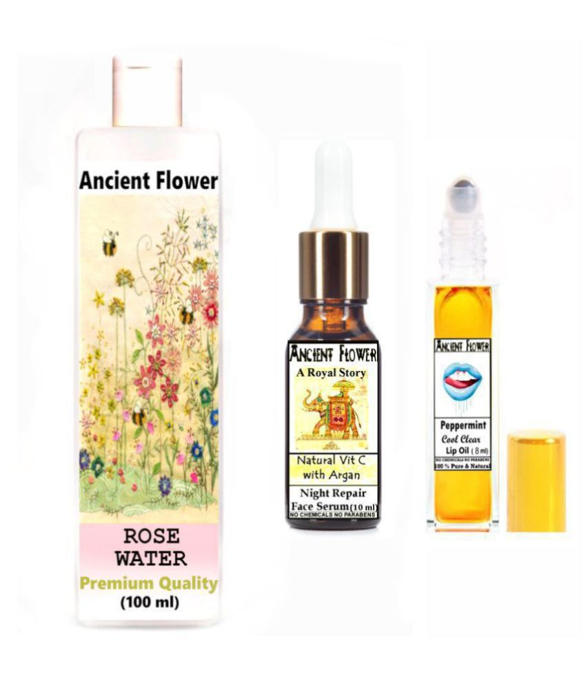 Ancient Flower Rose water, Peppermint Lip Oil, Royal Story Face Serum 118 mL