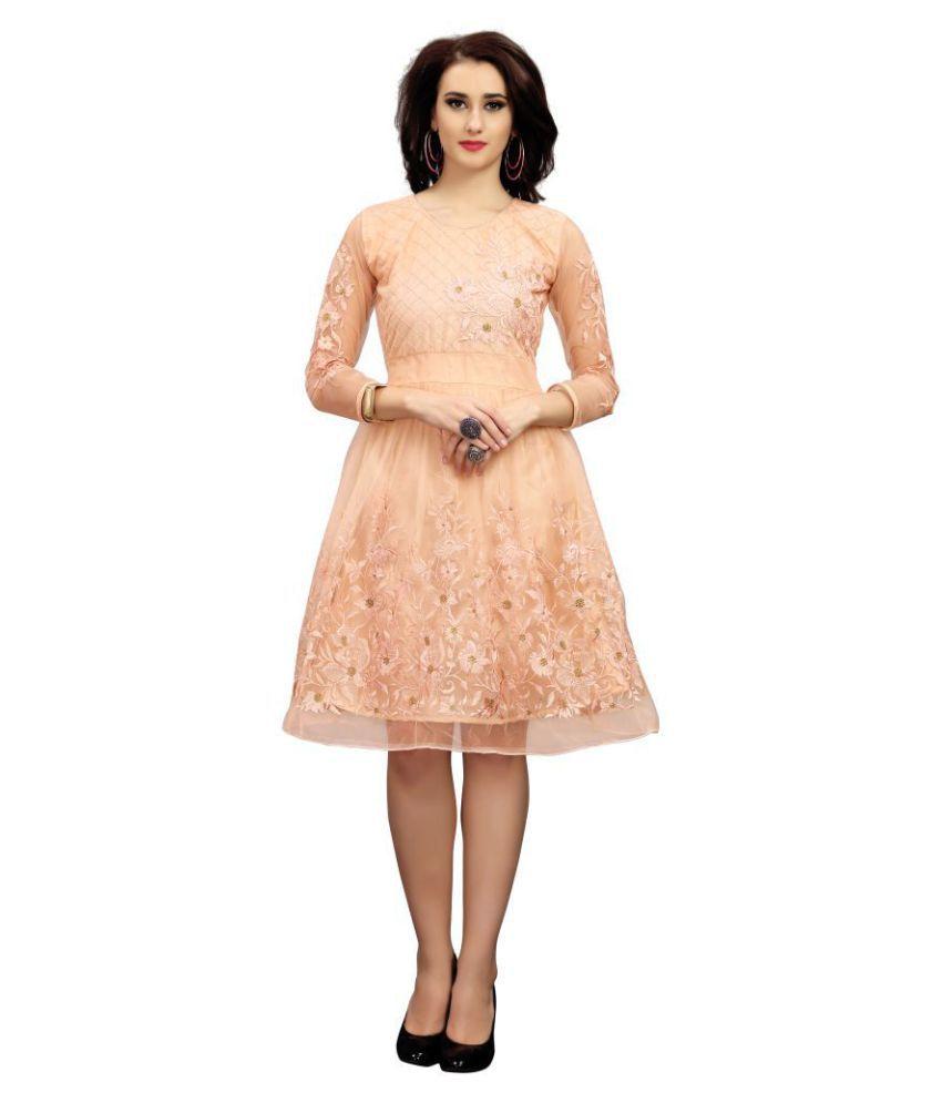 Shital Fashion World Net Peach Fit And Flare Dress