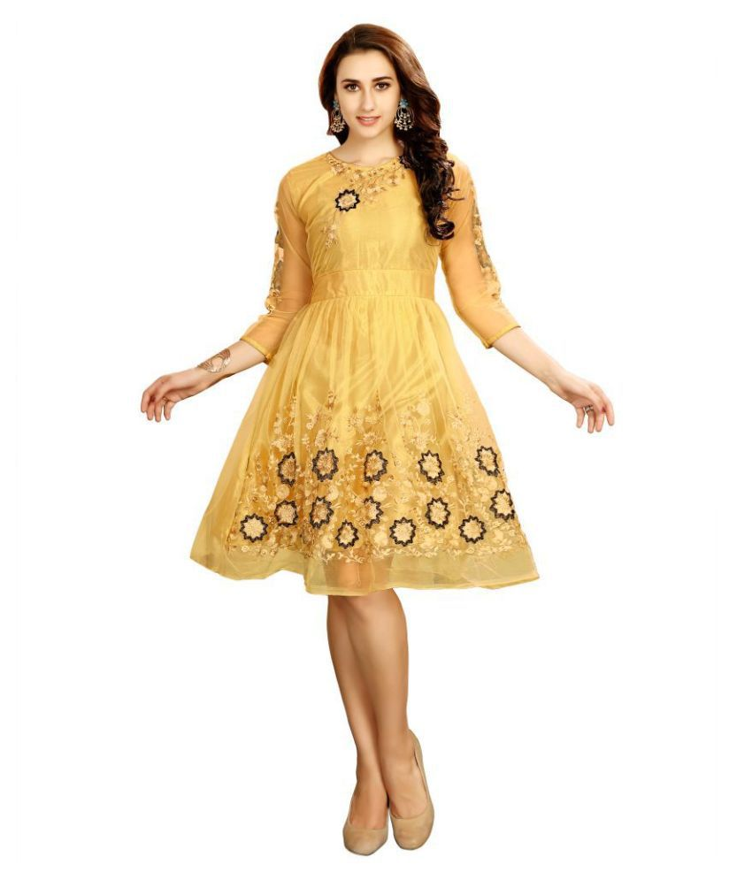 Shital Fashion World Net Yellow Fit And Flare Dress