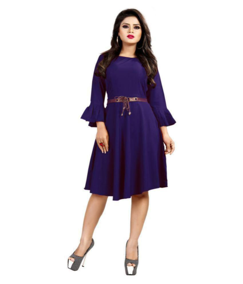 TRENDFEBWER Rayon Blue Fit And Flare Dress