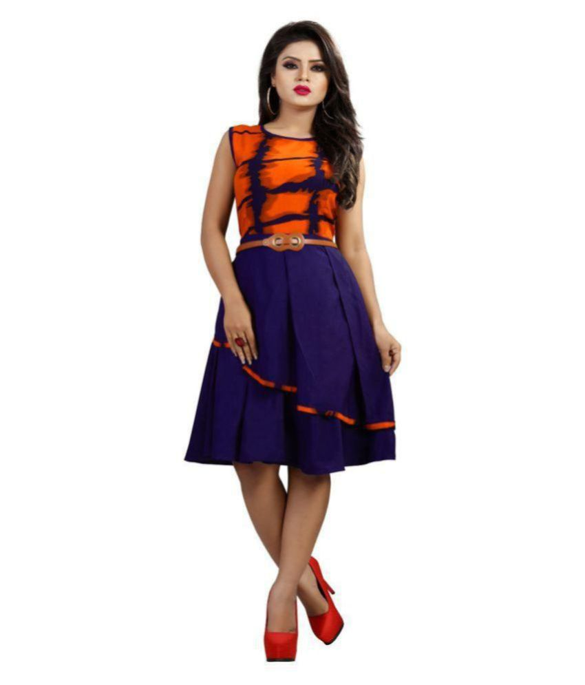 TRENDFEBWER Rayon Orange Fit And Flare Dress