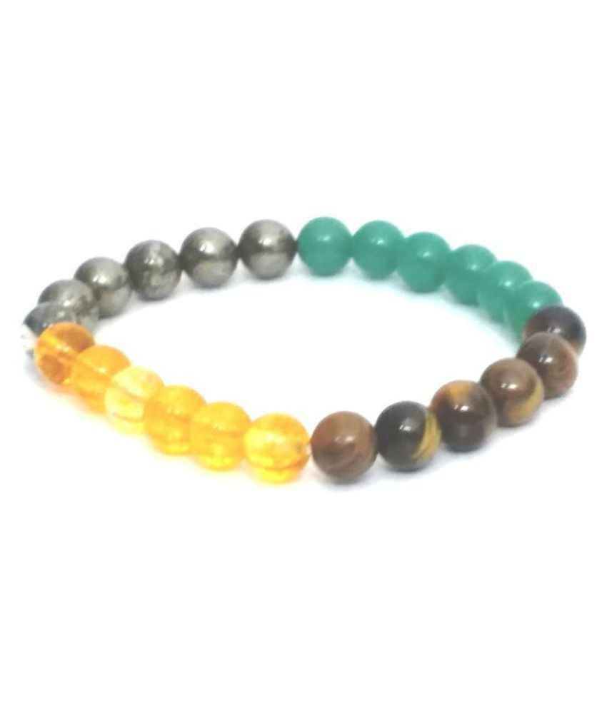 CITRINE,PYRITE, GREEN ONYX & TIGER EYE STRETCH BRACELET (8 MM)