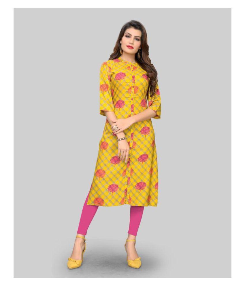 Vbuyz Yellow Rayon Shirt style Kurti