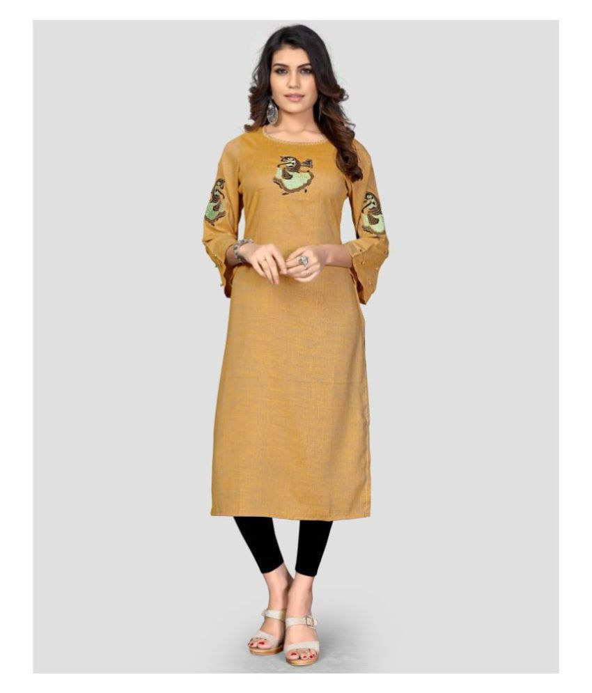 Vbuyz Yellow Rayon Straight Kurti