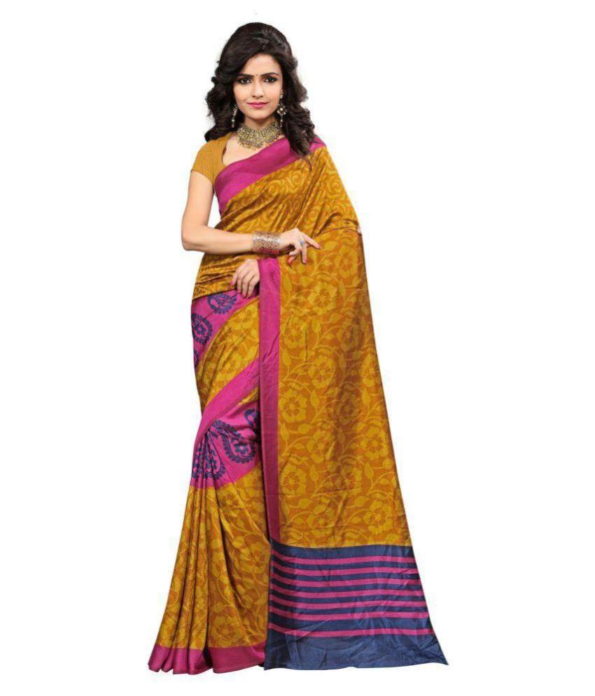 Vardan Prints Yellow,Brown Mysore Silk Saree