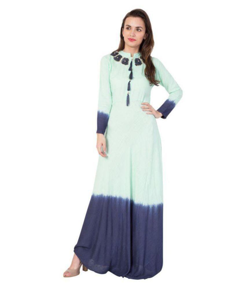 pinky pari Rayon Blue A- line Dress
