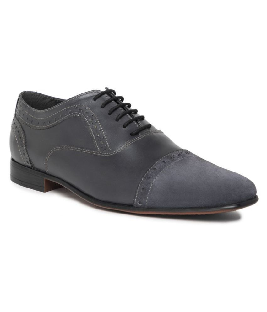 NOBLE CURVE Oxfords Genuine Leather Gray Formal Shoes